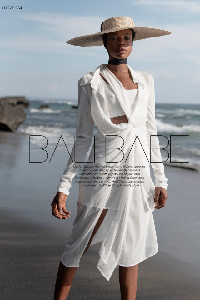 Editorial fashion shoot for Lucy's Magazine. Stunning model Dayana Reeves is wearing a dress & hat from Jacquemus. Dayana is represented by top Bali Model Agency Castaway Model Management