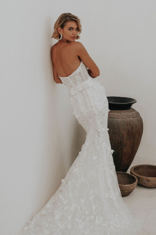 Varya Baikova on fashion shoot campaign wedding dress