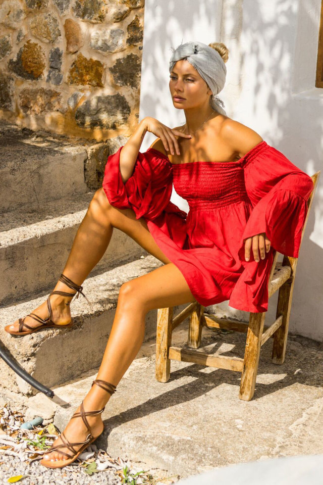 Fashion shot, Malin looks stunning with red bohemian dress