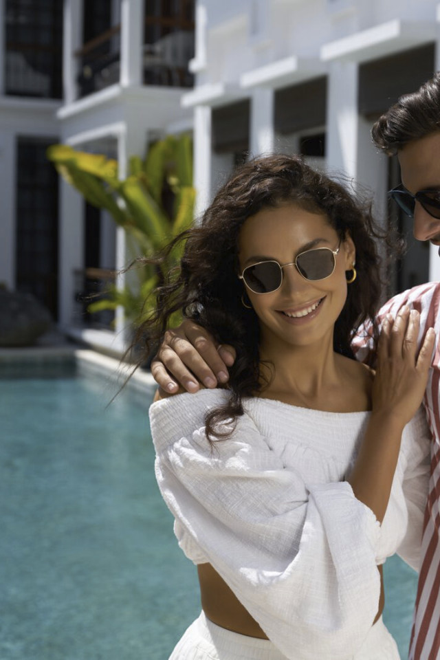 Couple shoot Rosa & Jaime Astrain for sunglasses brand created by Castaway Model Management