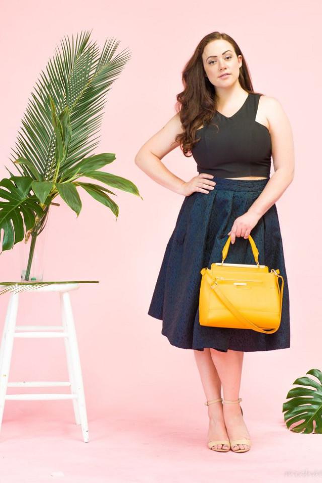 Australian plus size model Carla Conlin doing a fashion studio shoot
