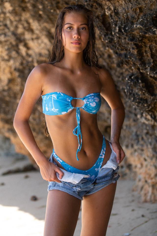 Young fashion model Tash Knox on bikini campaign