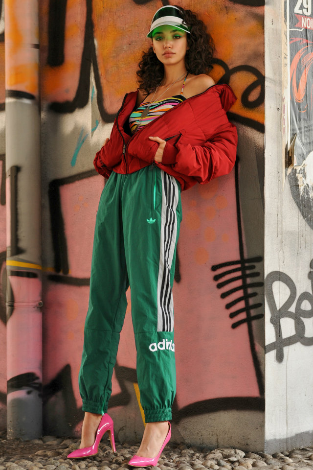 Fashion model Stephanie Olitte wearing workout outfit
